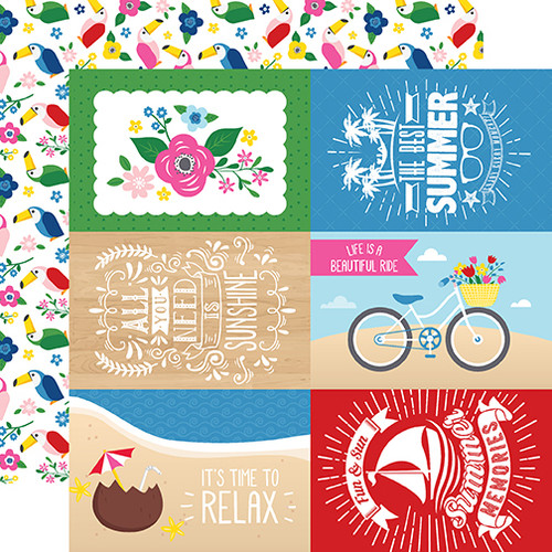 Echo Park I Love Summer 12x12 Paper: 4X6 Journaling Cards