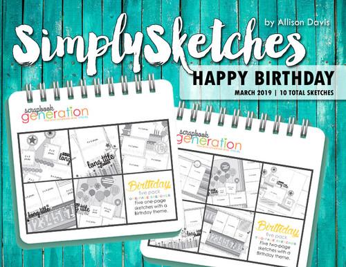 Simply Sketches Ebook: March 2019 | Happy Birthday