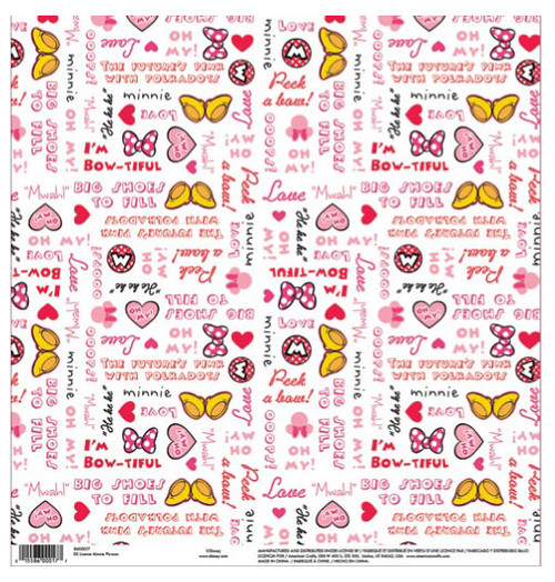 EK Success Disney 12x12 Paper: Minnie Phrases