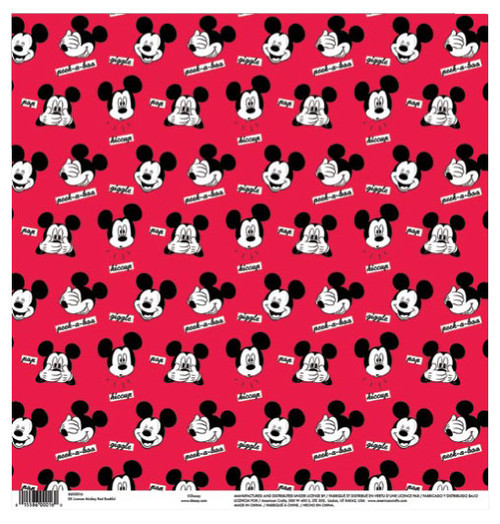 EK Success Disney 12x12 Paper: Mickey Red Bashful