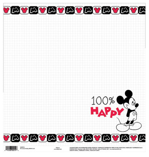 EK Success Disney 12x12 Paper: Mickey 100% Happy