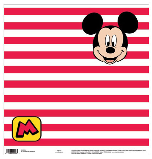 EK Success Disney 12x12 Paper: Mickey Red Stripe