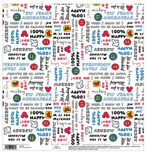EK Success Disney 12x12 Paper: Mickey Phrases
