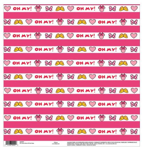 EK Success Disney 12x12 Paper: Minnie Oh My Stripe
