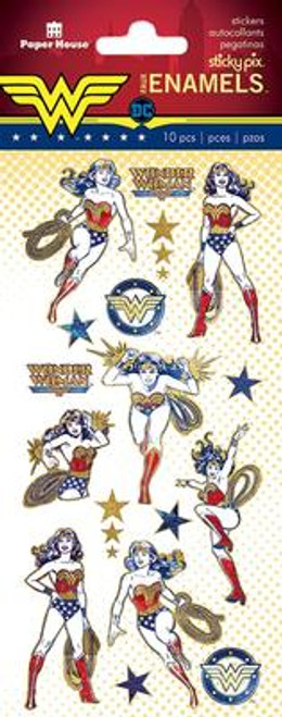 Paper House Sticky Pix Faux Enamels Stickers: Wonder Woman