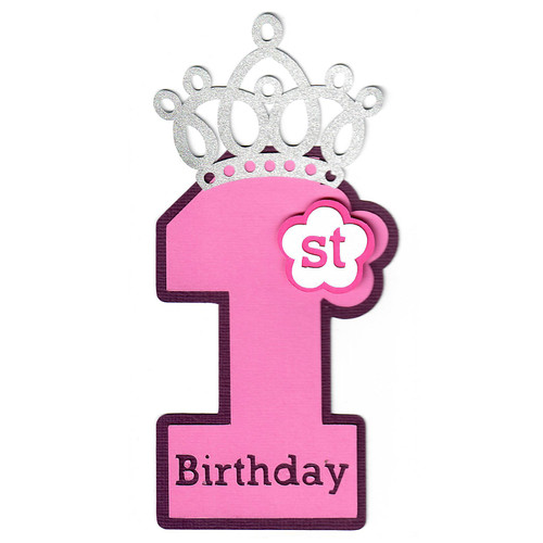 """Scrapbooks From The Heart Diecut Title: First Birthday Large """"One"""" (Pink)"""