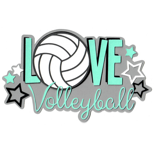 Scrapbooks From The Heart Diecut Title: LOVE Volleyball w/Stars
