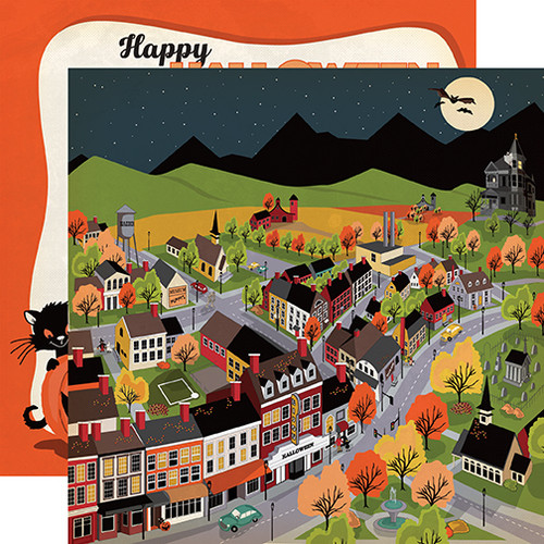 Carta Bella Happy Halloween 12x12 Paper: Halloween Town