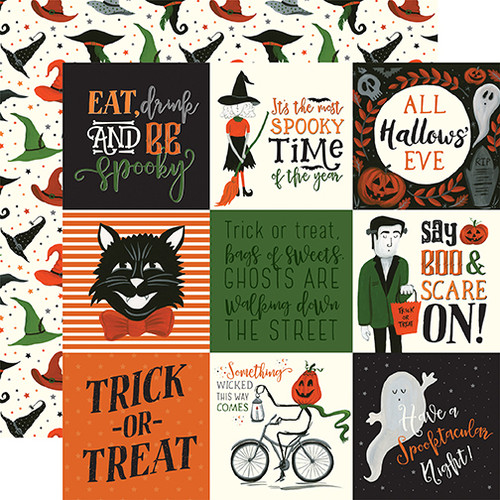 Echo Park Trick or Treat 12x12 Paper: 4X4 Journaling Cards