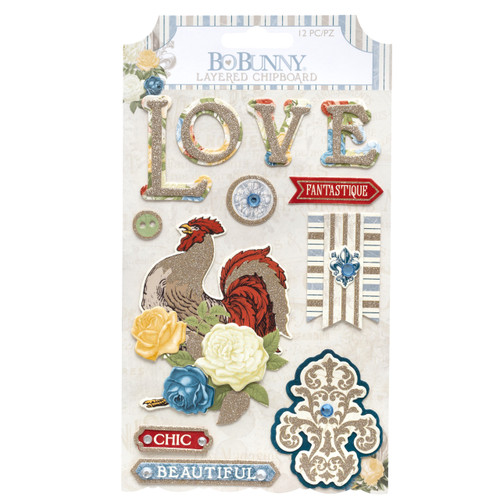 BoBunny Boulevard Layered Chipboard