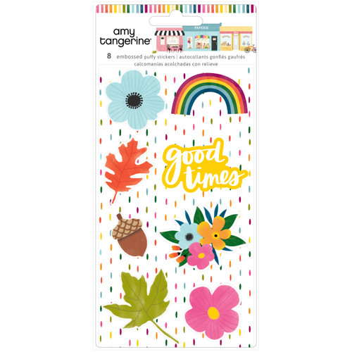 AC Amy Tangerine Slice of Life Embossed Puffy Stickers