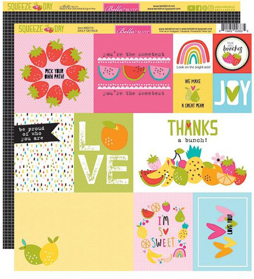 Bella Blvd Squeeze the Day 12x12 Paper: Daily Details