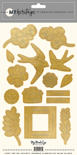 My Mind's Eye My Heritage Gold Embossed Stickers