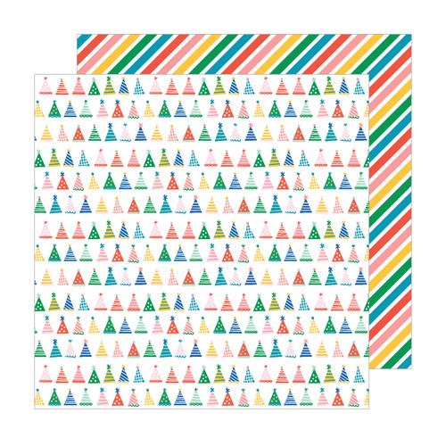 Pebbles Happy Cake Day 12x12 Paper: Party Hats