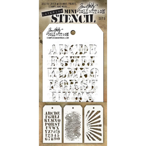 Tim Holtz Mini-Stencil Sets (3/Pkg): Set 5