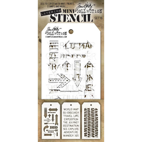 Tim Holtz Mini-Stencil Sets (3/Pkg): Set 15