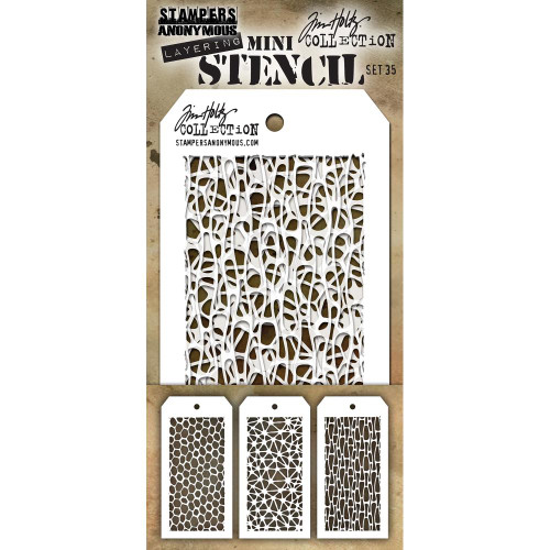 Tim Holtz Mini-Stencil Sets (3/Pkg): Set 35