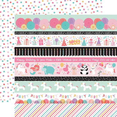 Echo Park It's Your Birthday - GIRL 12x12 Paper: Border Strips