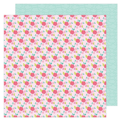 Doodlebug Love Notes 12x12 Paper: Rose Trellis