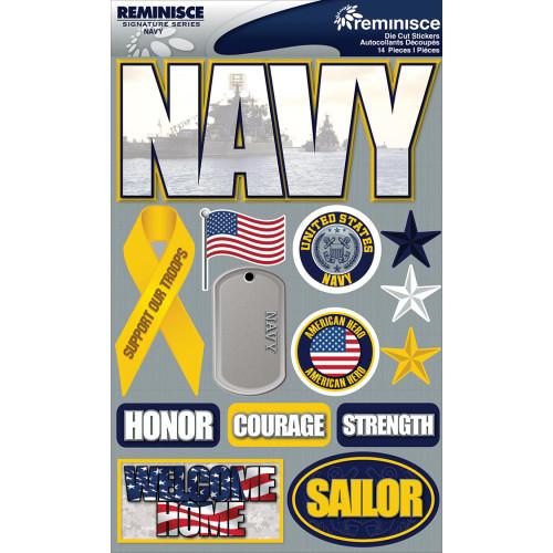 Reminisce Signature Series Dimensional Sticker: Navy