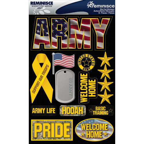 Reminisce Signature Series Dimensional Sticker: Army