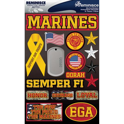 Reminisce Signature Series Dimensional Sticker: Marines