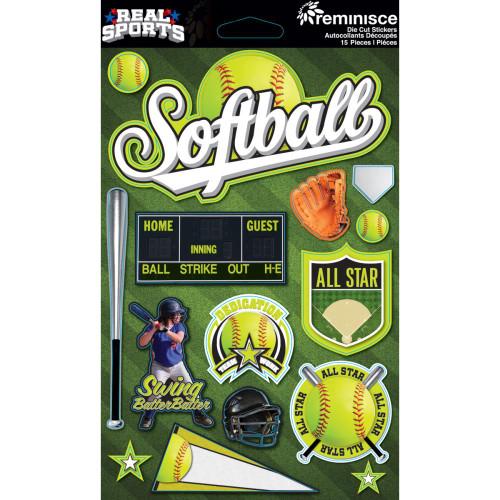 Reminisce Signature Series Dimensional Sticker: Softball