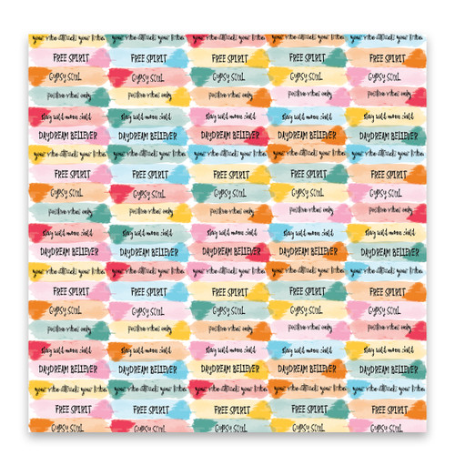 Pretty Little Studio Bohemian Dreams 12x12 Paper (Single Sided) | Positive Vibes 12x12