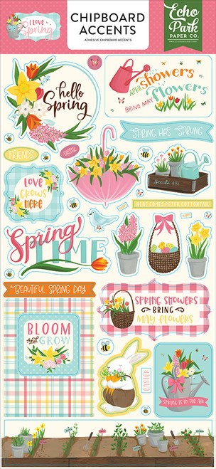 Echo Park I Love Spring 6x13 Chipboard Accents
