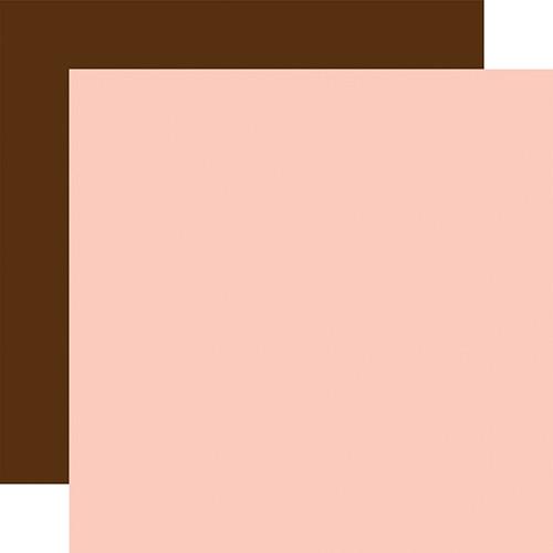 Echo Park Baby Girl 12x12 Paper: Lt. Pink / Brown (Coordinating Solid)