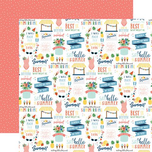 Echo Park Summertime 12x12 Paper: Hello Summer