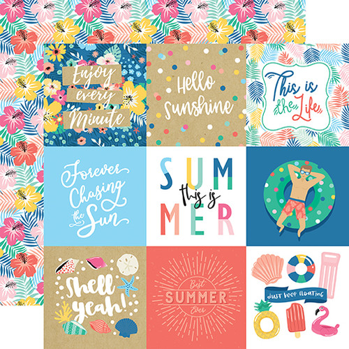 Echo Park Dive Into Summer 12x12 Paper: 4X4 Journaling Cards