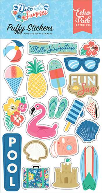 Echo Park Dive Into Summer Puffy Stickers