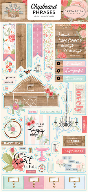 Carta Bella Farmhouse Market 6x13 Chipboard Phrases