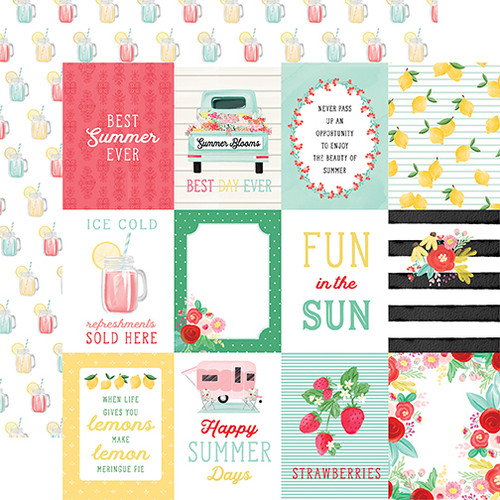 Carta Bella Summer Market 12x12 Paper: 3X4 Journaling Cards