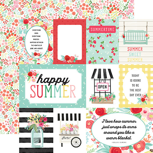 Carta Bella Summer Market 12x12 Paper: Journaling Cards