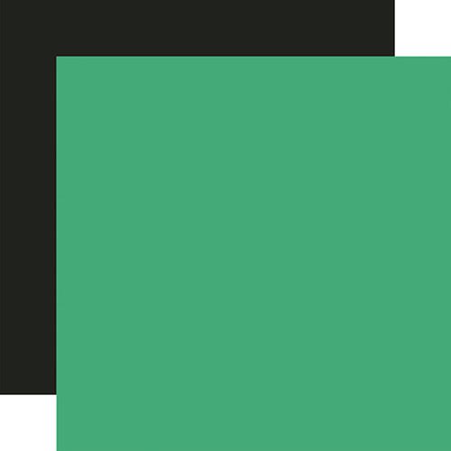 Carta Bella Summer Market 12x12 Paper: Green / Black (Coordinating Solid)
