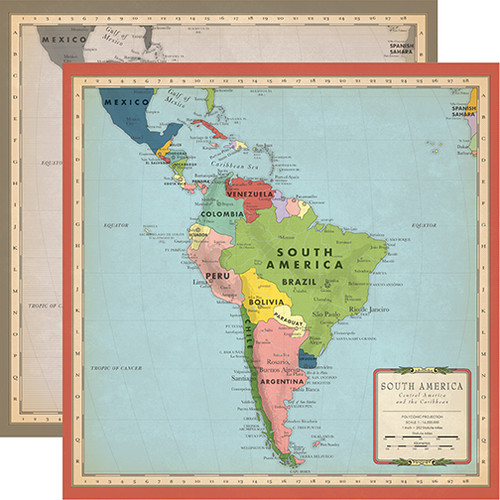 Carta Bella Cartography No. 2 12x12 Paper: South America Map