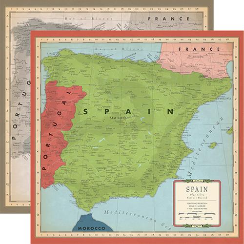 Carta Bella Cartography No. 2 12x12 Paper: Spain Map