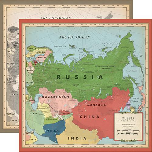 Carta Bella Cartography No. 2 12x12 Paper: Russia Map