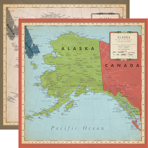 Carta Bella Cartography No. 2 12x12 Paper: Alaska Map