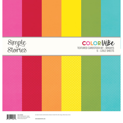 Simple Stories Textured Cardstock Kit | Brights