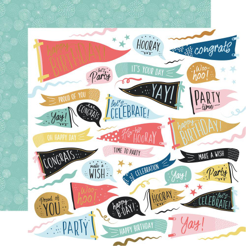 KaiserCraft Oh Happy Day 12x12 Foil Paper: Time to Party