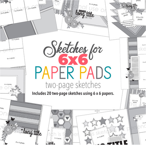 * DIGITAL DOWNLOAD * Sketches for 6x6 Paper Pads: Two Page Sketches ---- BONUS FB GROUP ----