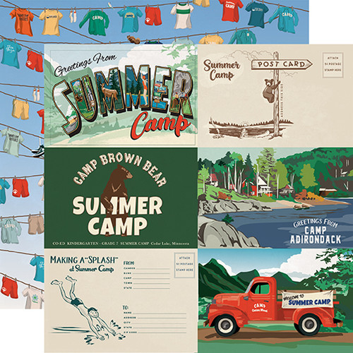 Carta Bella Summer Camp 12x12 Paper: 6X4 Journaling Cards