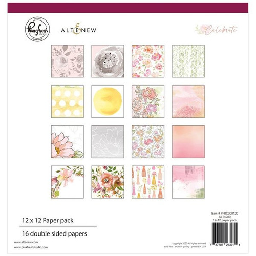 Pinkfresh Studio Celebrate 12x12 Paper Pack (16 double sided papers, 2 of each design)