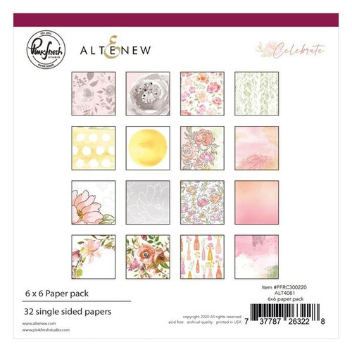 Pinkfresh Studio Celebrate 6x6 Paper Pack (32 single sided papers, 2 of each design)