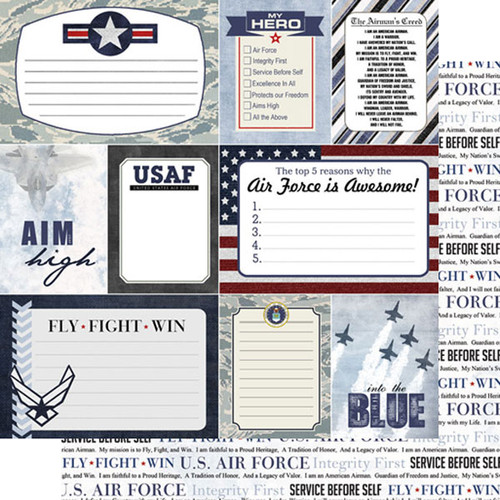 Scrapbook Customs 12x12 Military Themed Paper: Air Force Journal Cards