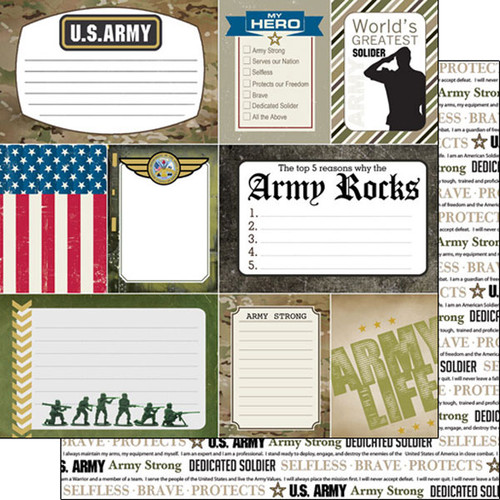 Scrapbook Customs 12x12 Military Themed Paper: Army Journal Cards