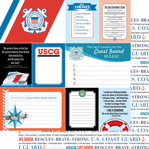 Scrapbook Customs 12x12 Military Themed Paper: Coast Guard Journal Cards